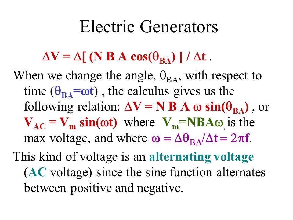Electric Generators DV = D[ (N B A cos(qBA) ] / Dt .